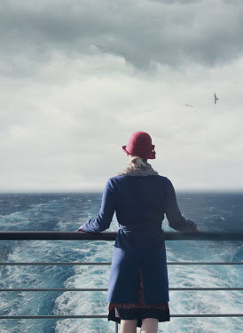 Mark Owen WOMAN ON DECK OF SHIP WATCHING SEA Women