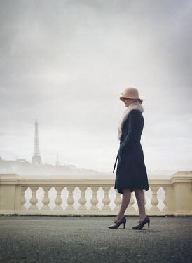 Mark Owen WOMAN IN HAT WALKING IN PARIS WITH EIFFEL TOWER Women