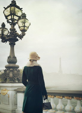 Mark Owen WOMAN IN HAT BRIDGE IN PARIS WITH EIFFEL TOWER Women