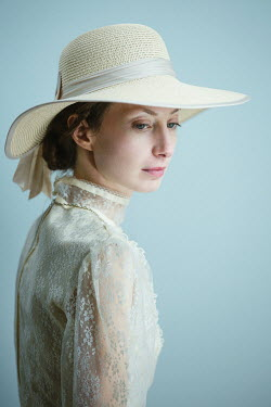 Magdalena Russocka historical woman in lace dress and hat