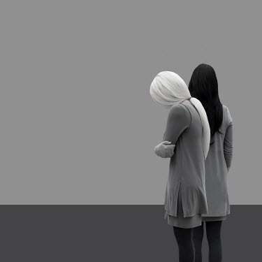 Patty Maher TWO WOMEN IN GRAY STANDING TOGETHER Women