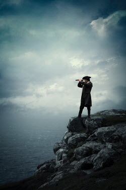 Magdalena Russocka HISTORICAL MAN WITH TELESCOPE ON CLIFF WATCHING SEA Men