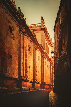 Evelina Kremsdorf LARGE HISTORICAL CITY BUILDING AT SUNSET Specific Cities/Towns