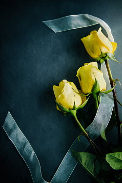 Isabelle Lafrance THREE YELLOW ROSES WITH SILK RIBBON Flowers