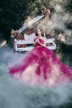Jovana Rikalo WOMAN IN TULLE GOWN WITH PIANIO AND SMOKE Women