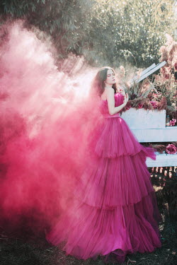 Jovana Rikalo WOMAN IN TULLE GOWN WITH PIANIO AND PINK SMOKE Women