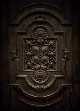 Jaroslaw Blaminsky CLOSE UP OF OLD DECORATIVE WOODEN DOOR Building Detail
