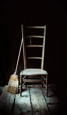 Jane Morley OLD CHAIR AND BROOM INDOORS IN SHADOW Miscellaneous Objects