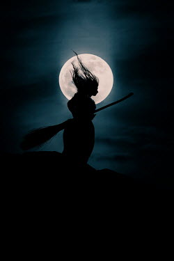 Rekha Garton WITCH AND BROOMSTICK SILHOUETTED WITH MOON Women