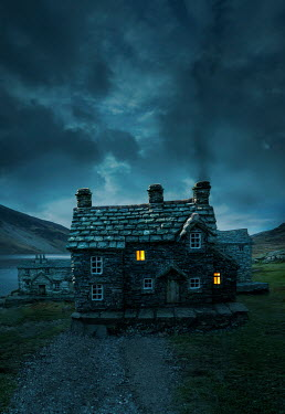 Stephen Mulcahey LIGHTS IN COTTAGE BY LAKE AT DUSK Houses