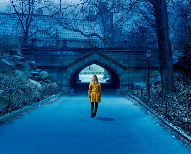 Stephen Mulcahey BLONDE GIRL WALKING IN PARK AT DUSK Women