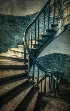 Jaroslaw Blaminsky WOODEN SPIRAL STAIRCASE IN OLD SHABBY BUILDING Stairs/Steps