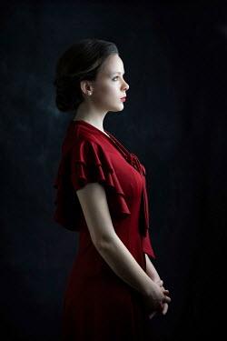 Ildiko Neer Elegant retro woman in red dress