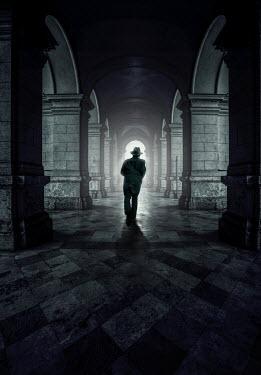 Jaroslaw Blaminsky MAN IN HAT RUNNING IN GRAND PASSAGEWAY Men