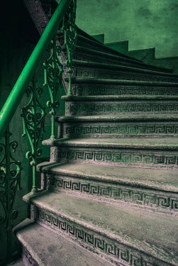Jaroslaw Blaminsky CLOSE UP OF OLD GREEN METAL STAIRCASE Stairs/Steps