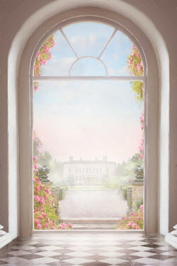 Lee Avison mansion house seen through an arched window