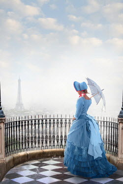 Lee Avison Victorian woman looking towards the Eiffel Tower, Paris