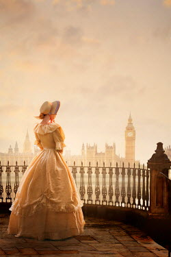Lee Avison victorian woman in london looking towards the houses of parliament and big ben