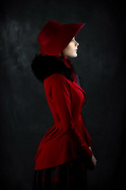 Ildiko Neer Historical woman in red coat and bonnet