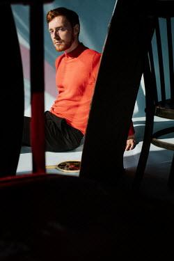 Marta Syrko MAN WITH RED BEARD SITTING WITH BROKEN MIRROR Men