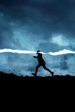 Rekha Garton SILHOUETTED GIRL RUNNING WITH TORN LINE Women