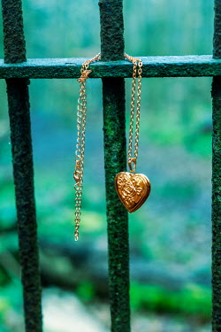 Stephen Mulcahey GOLD LOCKET HANGING ON RAILINGS Miscellaneous Objects