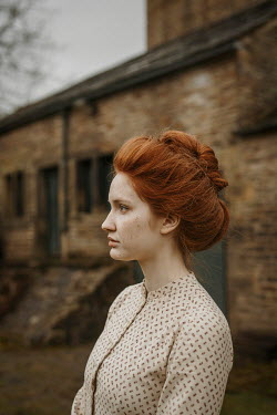 Shelley Richmond HISTORICAL WOMAN WITH RED HAIR OUTSIDE BUILDING Women