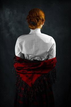 Ildiko Neer Historical woman in white blouse with red scarf