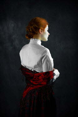 Ildiko Neer Red hair historical woman in white blouse