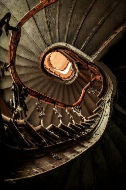 Jaroslaw Blaminsky OLD SPIRAL STAIRCASE FROM BELOW Stairs/Steps