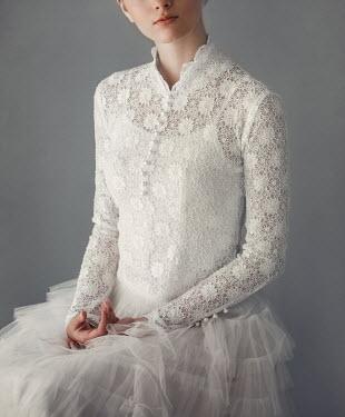 Nikaa GIRL SITTING IN WHITE LACY WEDDING DRESS Women