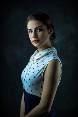 Ildiko Neer Elegant retro woman in spotty dress