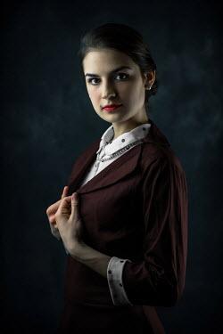 Ildiko Neer Retro woman in burgundy dress