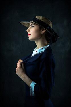 Ildiko Neer Retro woman on straw hat
