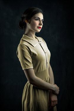 Ildiko Neer Retro woman in yellow dress