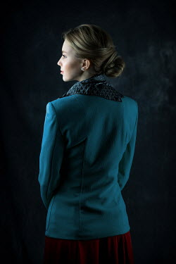 Ildiko Neer Young blonde retro woman in blue jacket