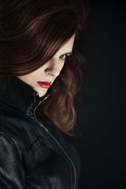 Natasza Fiedotjew WOMAN IN LEATHER JACKET WITH RED LIPSTICK Women