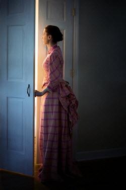 Susan Fox HISTORICAL WOMAN PEERING FROM BEHIND DOOR Women