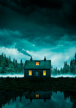 Stephen Mulcahey LIGHTS IN WINDOW OF CABIN BY LAKE Houses