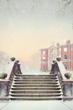 Lee Avison historic house in winter snow