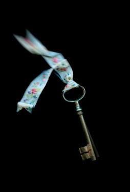 Amy Weiss ANTIQUE KEY WITH FLORAL RIBBON
