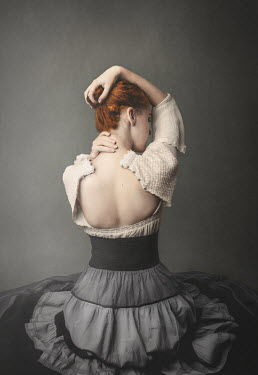 Anna Buczek Young woman in unbuttoned Victorian dress