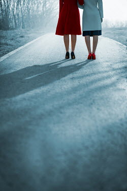 Ildiko Neer Two vintage women standing on country road