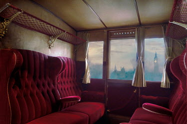 Drunaa INTERIOR OF TRAIN WITH LONDON SKYLINE Railways/Trains