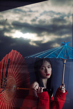 Marta Syrko ASIAN GIRL WITH PARASOLS OUTDOORS IN MIST Women