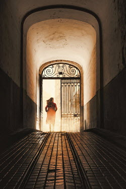 Dragan Todorovic WOMAN WALKING THROUGH ORNATE GATE IN HALLWAY Women