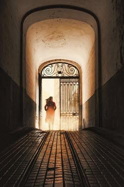 Dragan Todorovic WOMAN WALKING THROUGH ORNATE GATE IN HALLWAY Women