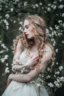 Jovana Rikalo DREAMY BLONDE WOMAN BY TREE IN BLOSSOM Women