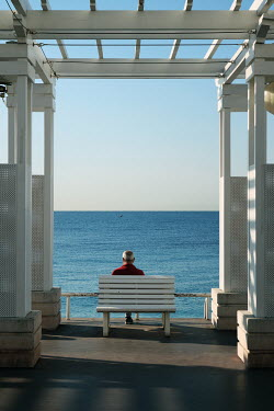 Giovan Battista D'Achille MAN SITTING ON BENCH WATCHING SEA Old People