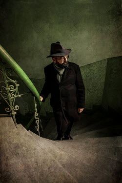 Jaroslaw Blaminsky MAN WITH HAT AND BEARD CLIMBING STAIRCASE Men